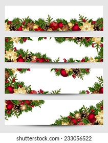 Vector set of Christmas banners with fir branches, balls, holly, poinsettia and cones.