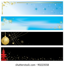 vector - set of christmas color banners
