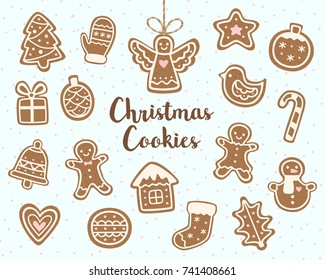 Vector set of christmas cookies illustrations.