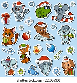 Vector set of Christmas cute animals, color cartoon collection, colorful stickers with little animals and winter objects