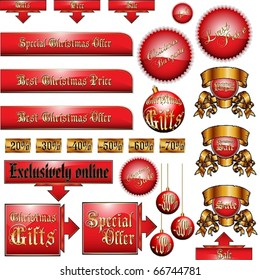 Vector set of Christmas discount tickets, labels, stickers, corners, tags