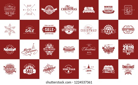Vector set of Christmas and New Year sale logos