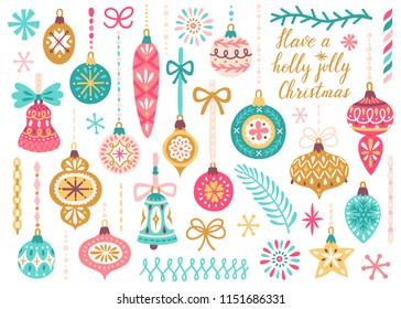 Vector set of Christmas ornaments hanging on ribbons. Vintage Xmas decorative elements are isolated on white. Cute hand drawing poster for Christmas and New Year.
