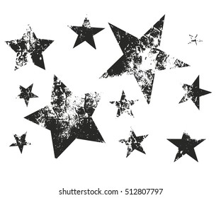 Vector set of Christmas stars. Stars with weaving fabric texture.