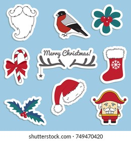 Vector set of Christmas stickers.