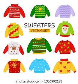 Vector set of christmas sweaters. Set of winter clothes with funny prints.