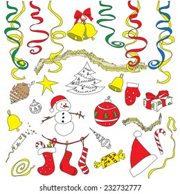 Vector set of Christmas symbols, icons, items and decorations painted by hand