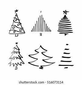 Vector set with Christmas tree.