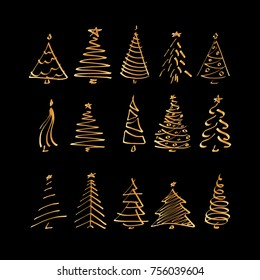 Vector Set With Christmas Tree