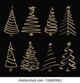 Vector set with Christmas tree. Doodles and sketches.