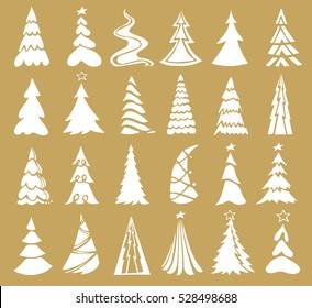 Vector set of christmas tree icons.