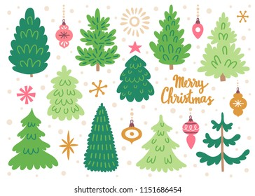 Vector set of christmas trees. Hand drawing winter background with fir tree, Christmas ornaments, stars and snowflakes. Holiday poster with Christmas symbols. Isolated on white.