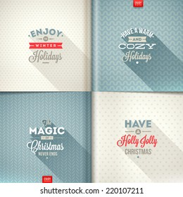 Vector set of Christmas type design with long shadow on a different backgrounds