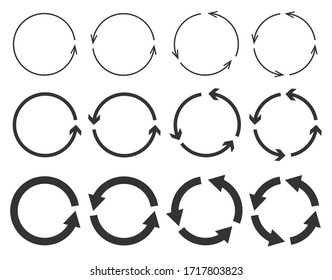 Vector set of circle arrows isolated on white background. Rotate arrow and spinning loading symbol. Circular rotation loading elements, redo process.