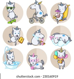 Vector set of circle stickers  with unicorn in various poses