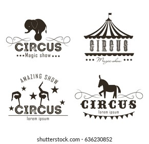 Vector set of circus logo, emblems, labels.   Elements for design on the circus theme.