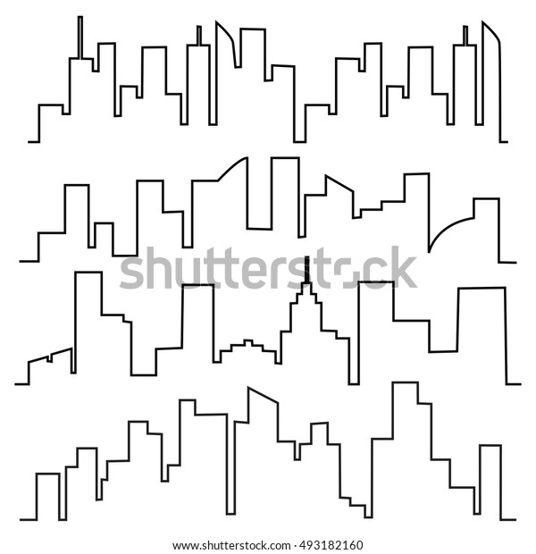 Vector set of city contours of buildings. Cityscape building line design.