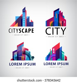 Vector set of city scape logos, building, property town, skyscrapers icons isolated. Houses property logos, building construction