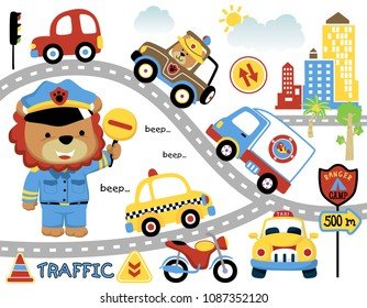 Vector set of city traffic with police cartoon