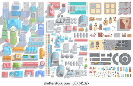 Vector set of cityscape. City, industry and construction. (Top view) Skyscrapers, buildings, houses, roads, factories, plants, construction machinery. (View from above)