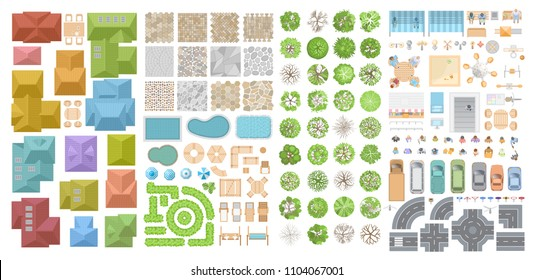 Vector set for a cityscape. Top view. Collection for landscape design, plan, maps. Sidewalk, playground, houses, road, cars, people, home, trees, pools. View from above.