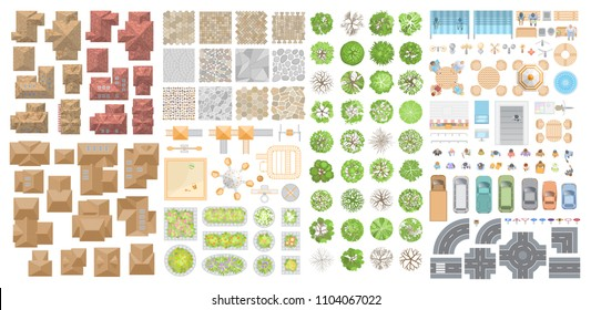 Vector set for a cityscape. Top view. Collection for landscape design, plan, maps. Sidewalk, playground, houses, road, cars, people, home, trees, flower beds. View from above.