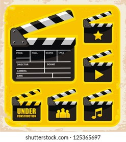 Vector set of clapboard design elements and icons. Movie and film graphics collection.