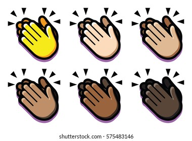Vector Set Of Clapping Hands Isolated On White Background