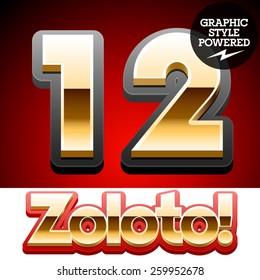 Vector set of classic 3D golden glossy font with black mat border. Optional different styles. Numbers 1 2
