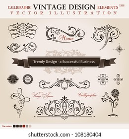 Vector set classic. Calligraphic design elements and book decoration, collection ornament retro