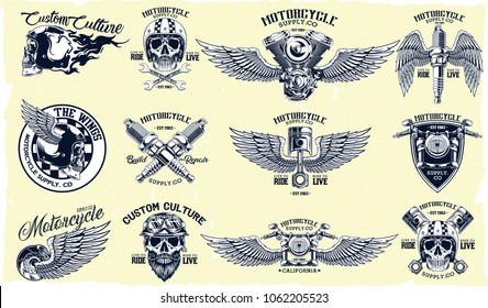 Vector Set of Classic Motorcycle Emblems, Badges, Logos on Light Background