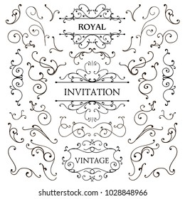 Vector set of classic swirls, luxury design elements. Frames and borders. Use for ad, invitations, etc.