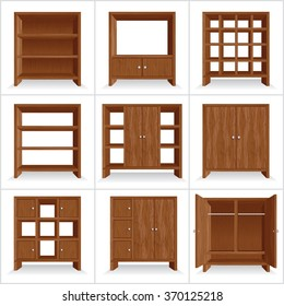 Vector Set of Classic Wooden Furniture. Wardrobe Collection