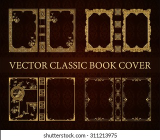 Vector set classical book cover. Decorative vintage frame or border to be printed on the covers of books. Drawn by the standard size