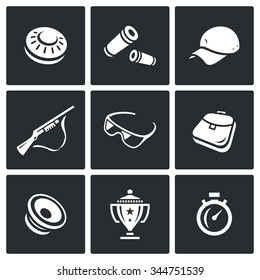 Vector Set of Clay Shooting Icons. Plate, Bullet, Cap, Gun, Glasses, Bag, Speaker, Cup, Stopwatch. Skeet, Ammunition, Clothes, Weapon, Security, Sack, Announcement, Victory, Time.