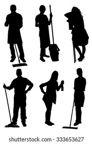 Vector Set Of  Cleaners Silhouettes. Vector Image