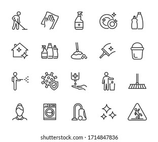 Vector set of cleaning line icons. Contains icons disinfection, detergents, maid, laundry, cleaning services, wet floor, virus protection and more. Pixel perfect.