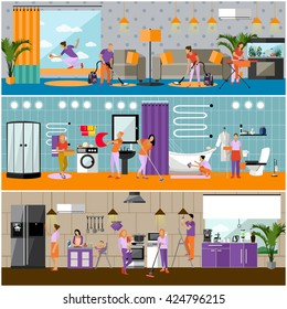 Vector set of cleaning service concept banners. People cleaning house, kitchen, bathroom and living room. Apartment interior. Housekeeping company team at work.