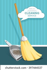 Vector Set of cleaning service elements. Housework tools. Garbage, dustpan and brush. Cleaning supplies. Template for banners, web sites, printed materials, infographics