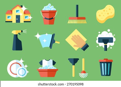 Vector set of cleaning tools. Flat design style.