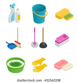 Vector set of cleaning tools. Flat 3d vector isometric illustration. ?leaning and cleanliness in the house or office.