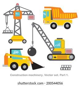 Vector set clip art construction machinery.Part 1.Tower crane,dumper, crawler crane,bulldozer.
