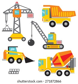 Vector set clip art construction machinery.Tower crane, dumper, crawler crane,bulldozer,concrete mixer. Many construction machines and cars have in my portfolio.