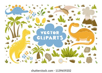 Vector set of cliparts with funny dinosaurs, palms, volcano, fossils, eggs, flowers in cartoon style. Prehistoric age life. Perfect for invitations, party, banners, baby shower, room decoration