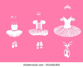 vector set of clothes and accessories for a little ballerina in white on a pink background