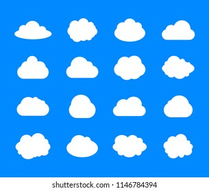 Vector Set of Clouds, White Weather Icons on Blue Sky Background, Flat Design Illustrations, Blank Frames.