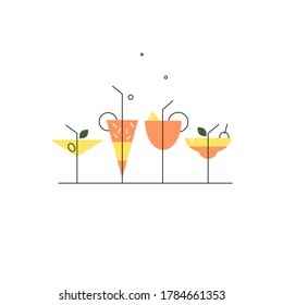Vector set of cocktails for bar menu design or beach party concept. Alcoholic drinks made in flat-linear style isolated on white background