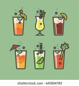 Vector set of cocktails of flat style.Tequila sunrise, Pina Colada, Long Island Iced Tea, Sex on the beach, Mojito, Bloody Mary. Six popular cocktails for design menu,posters, brochures for cafe, bar