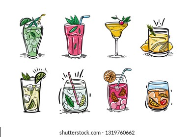 Vector set of cocktails. Hand drawn vector illustration is sketch style. Isolated on white background. Popular cocktails for design menu,posters, brochures for cafe, bar.
