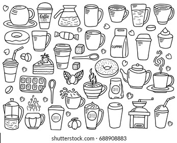 vector set of coffee doodle, doodle coffee background, vector background with coffee elements